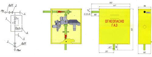 Функциональная и габаритная схема газорегуляторного пункта ГРПШ-10