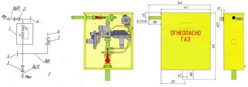 Функциональная и габаритная схема газорегуляторного пункта ГРПШ-10МС