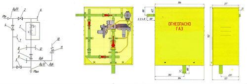 Функциональная и габаритная схема газорегуляторного пункта ГРПШ-10МС-1