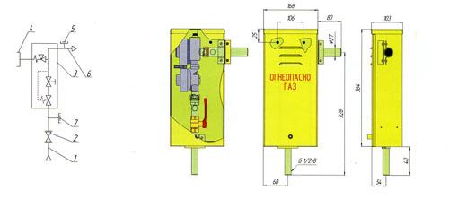 Функциональная и габаритная схема газорегуляторного пункта ГРПШ-6